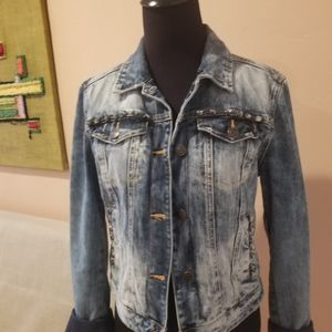 Zara Trafulac Washed Denim Cropped Jacket
